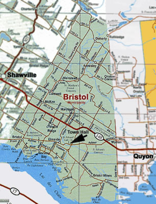 Map showing Bristol Town Hall